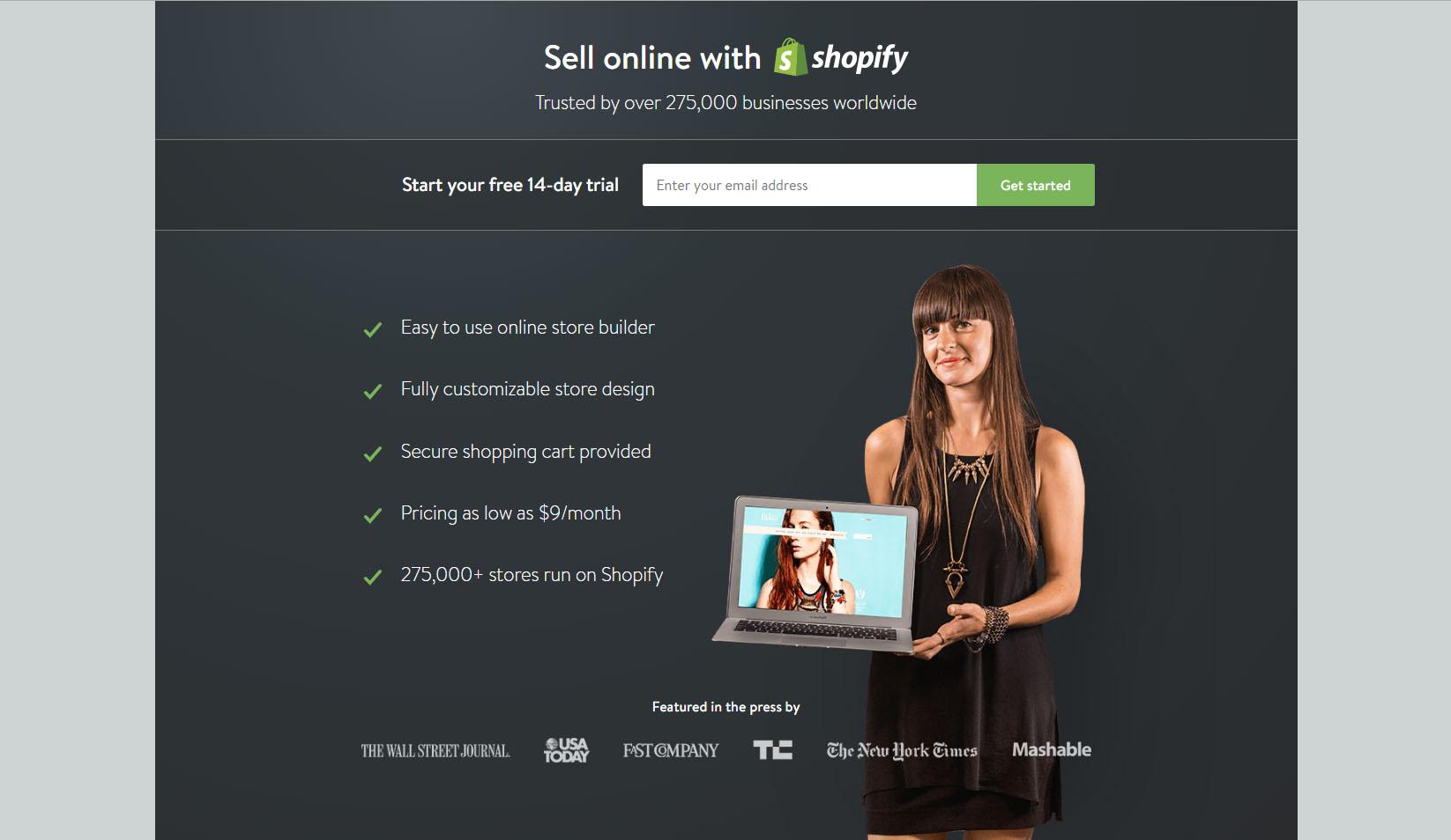 Landningssida för Shopify