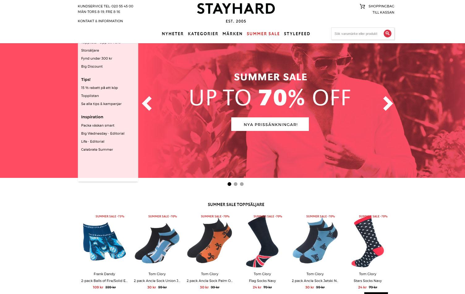 Landningssida för Stayhards kampanj